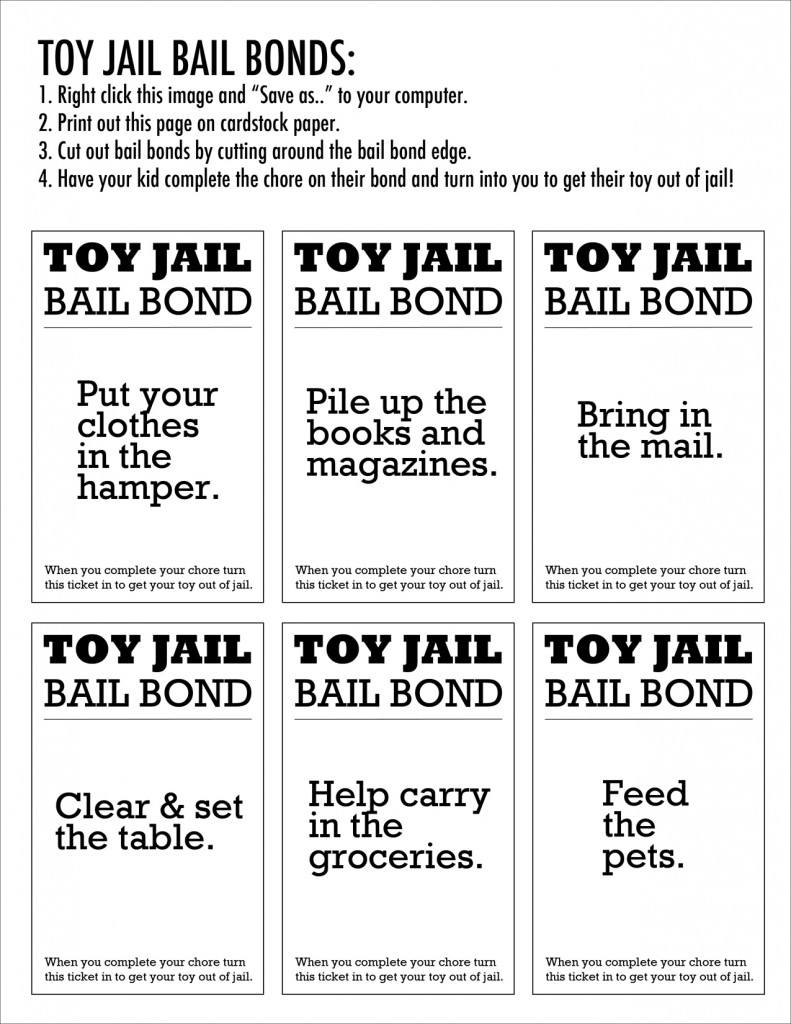 Enough! Why You Should Put Your Kids Toys In Jail & How Your Child | Get Out Of Jail Free Card Printable