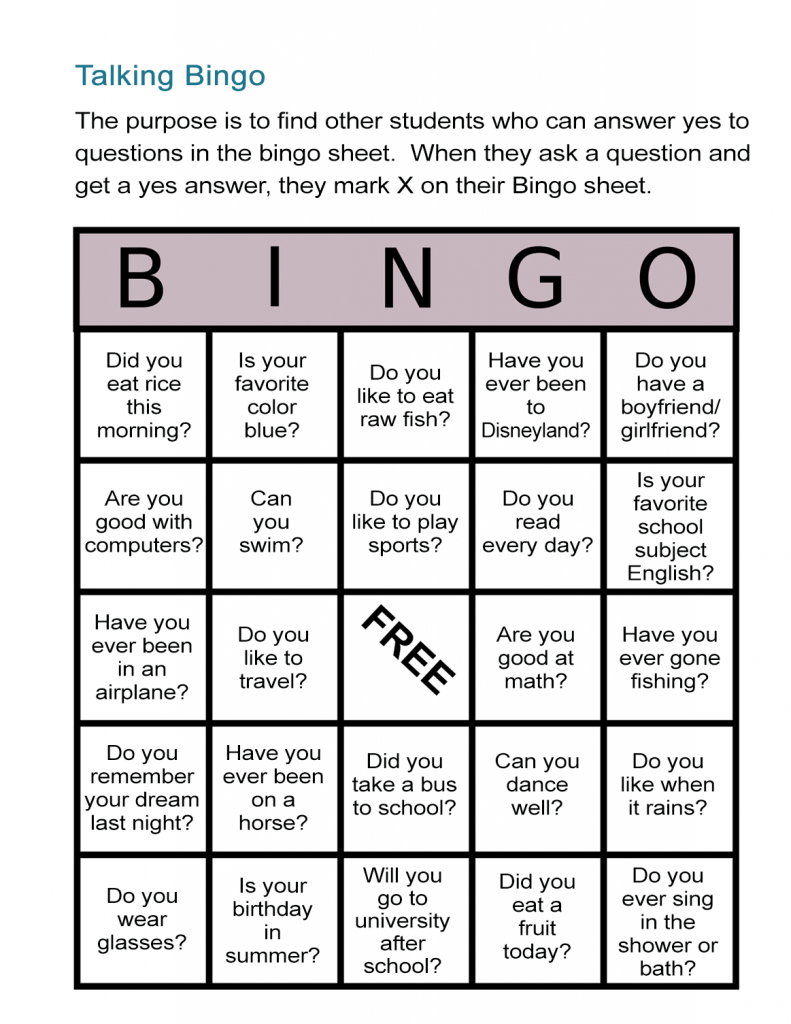 Esl Bingo Free Worksheet: Stand-Up Bingo - All Esl | Esl Bingo Cards Printable