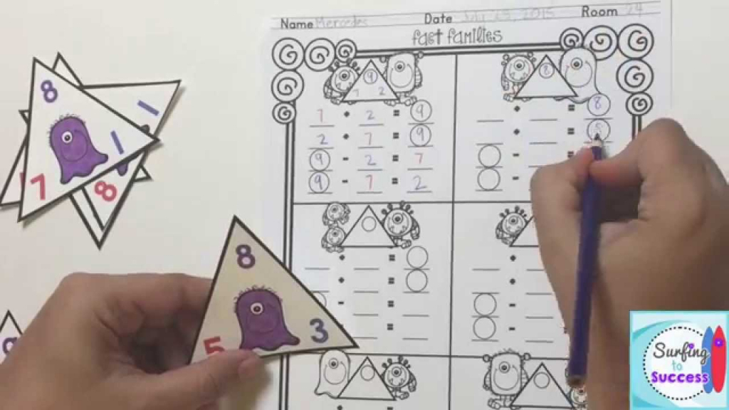Fact Family Monsters - Youtube | Triangle Flash Cards Addition And Subtraction Printable