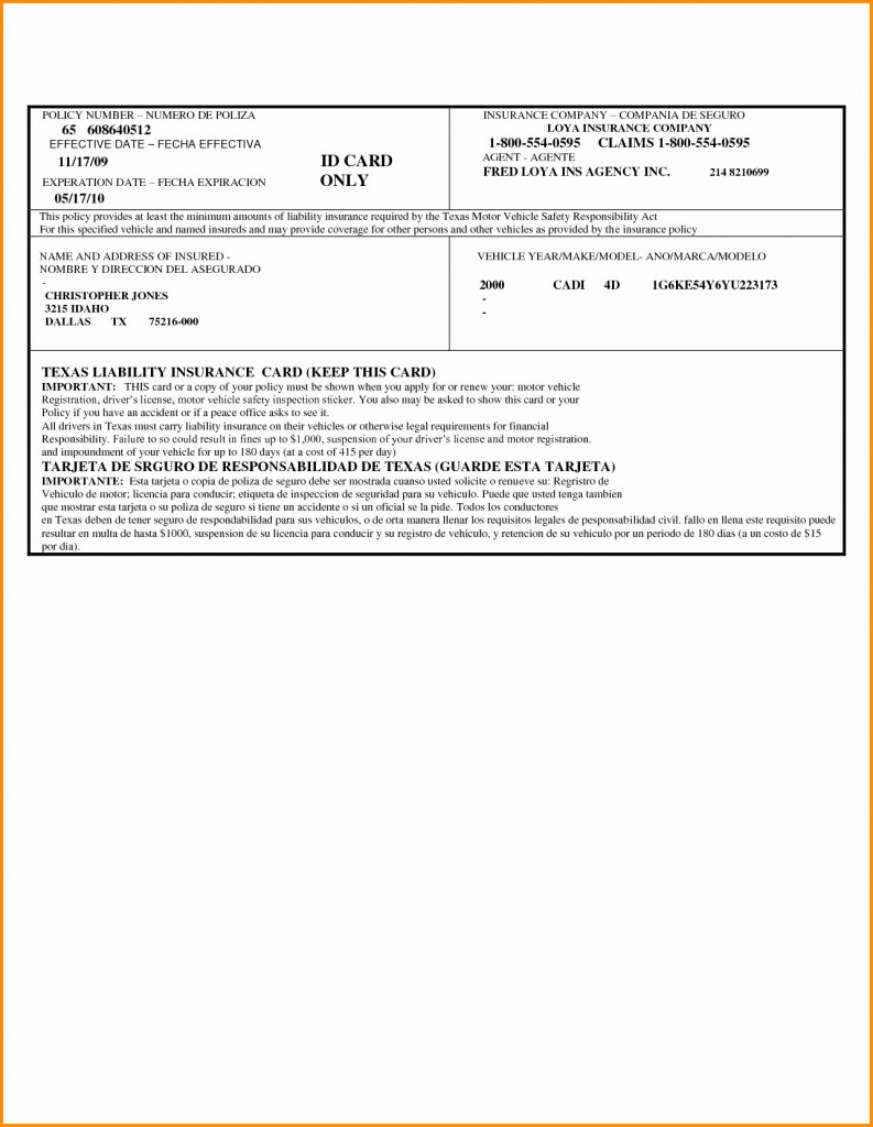 Printable Fake Car Insurance Cards | Printable Card Free