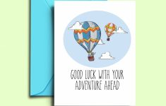 Farewell Card For Friends Hot Air Balloon Printable Good Luck | Etsy | Going Away Card Printable