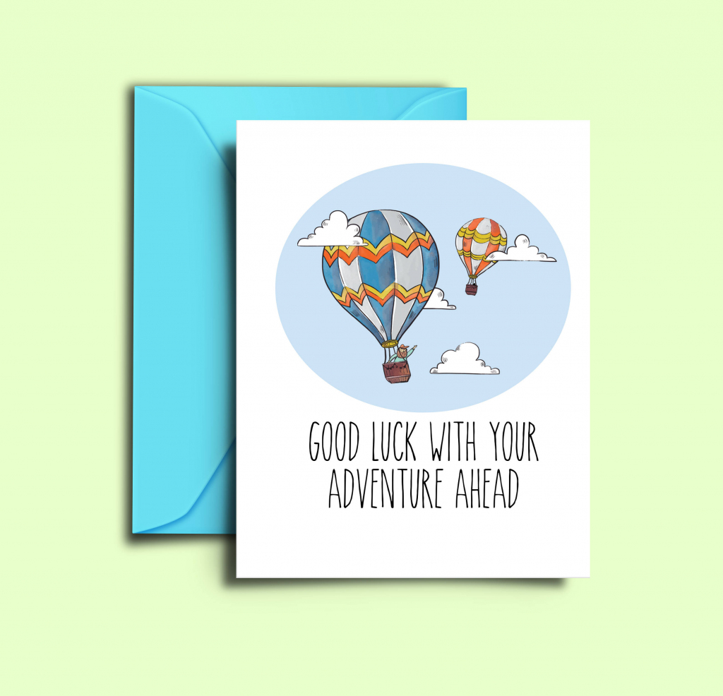 Farewell Card For Friends Hot Air Balloon Printable Good Luck | Etsy | Printable Good Luck Cards
