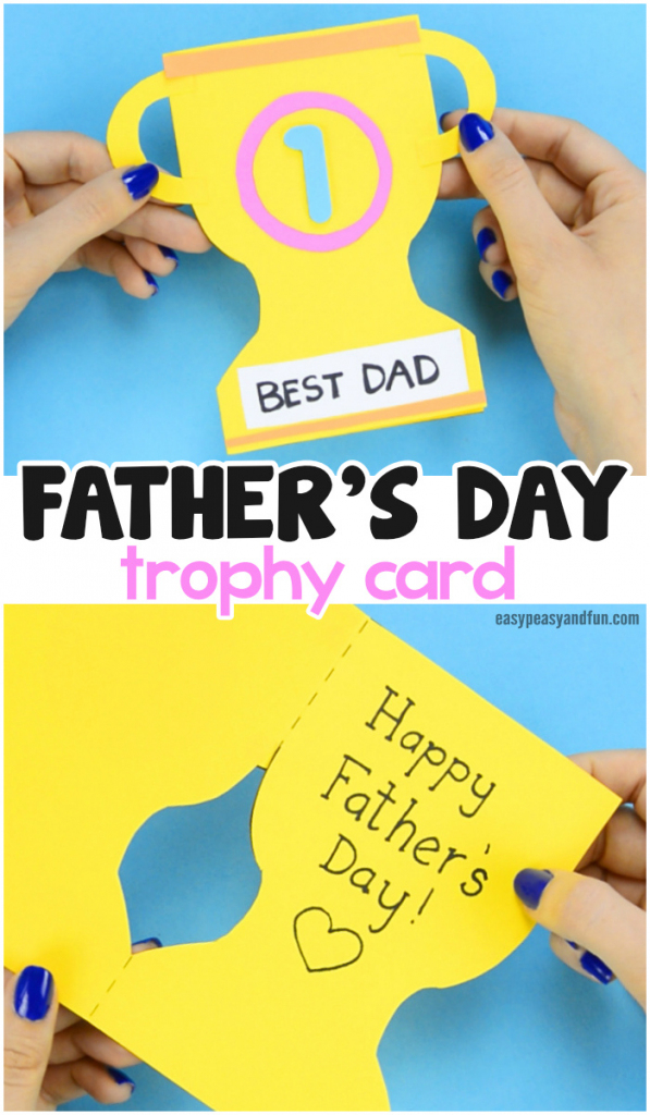 Father's Day Trophy Card - With Printable Trophy Template - Easy | Super Dad Card Printable