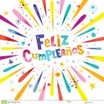 Feliz Cumpleanos Happy Birthday In Spanish Stock Vector | Happy Birthday In Spanish Card Printable