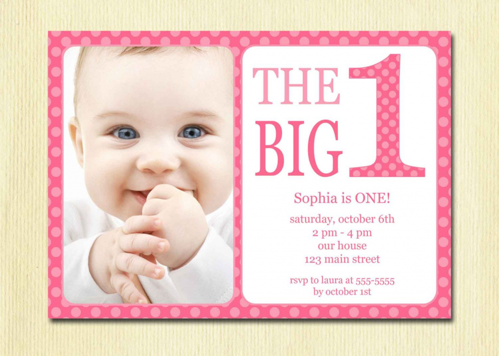 First Birthday Baby Girl Invitation - Diy Photo Printable Custom | Printable 1 Year Old Birthday Card