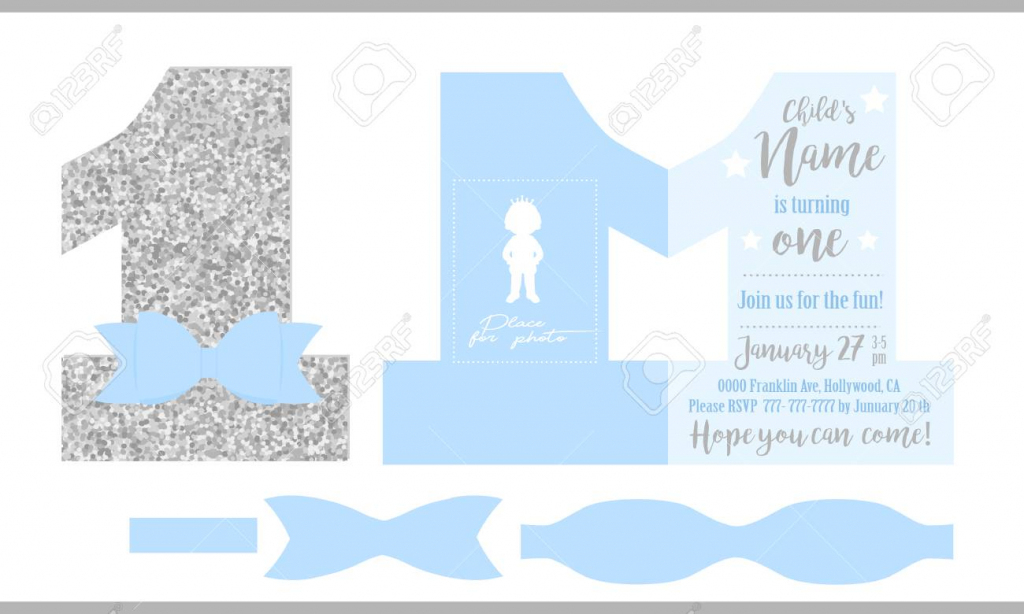First Birthday Boy's Party. Printable Invitation Card For Little | Printable Invitation Card Stock