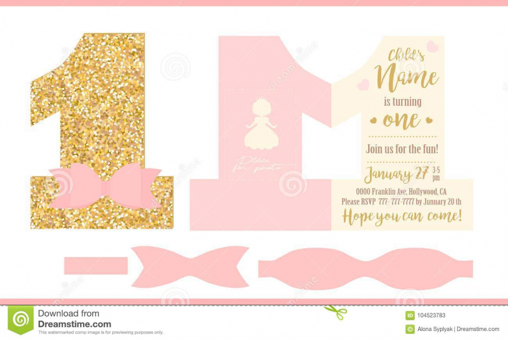First Birthday Girl Party. Printable Invitation Card For Little | Printable Invitation Card Stock