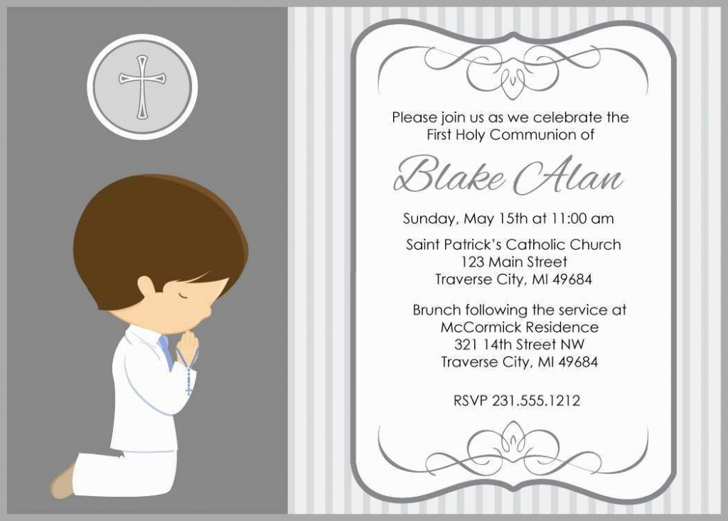 First Communion Invitations Templates - Under.bergdorfbib.co | First Holy Communion Cards Printable Free