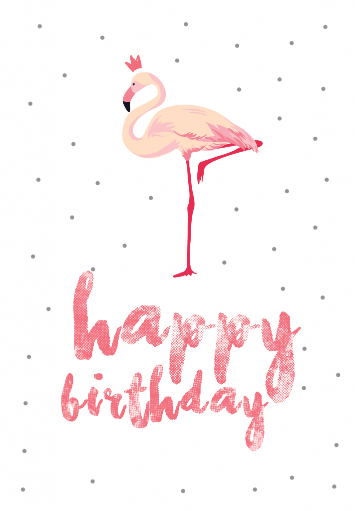 Flamingo Birthday - Free Printable Birthday Card | Greetings Island | Happy Birthday From All Of Us Printable Cards