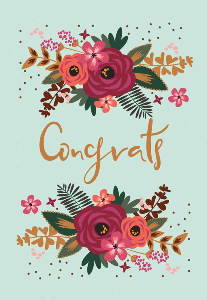 Floral Congrats - Free Printable Wedding Congratulations Card | Free Printable Wedding Shower Greeting Cards