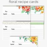 Floral Recipe Cards | Printable Love | Recipe Cards, Printable | Printable Recipe Card Template