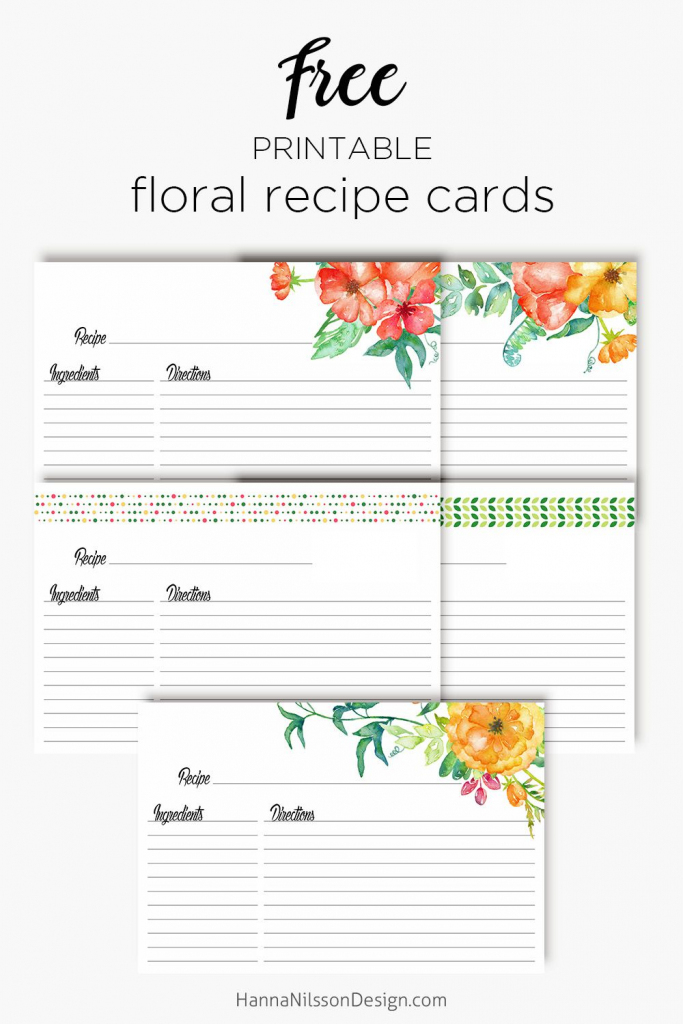 Floral Recipe Cards | Printable Love | Recipe Cards, Printable | Printable Recipe Card Template