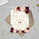 Floral Wedding Invitation Template Wedding Invitation | Etsy | Printable Wedding Invitation Card Sample