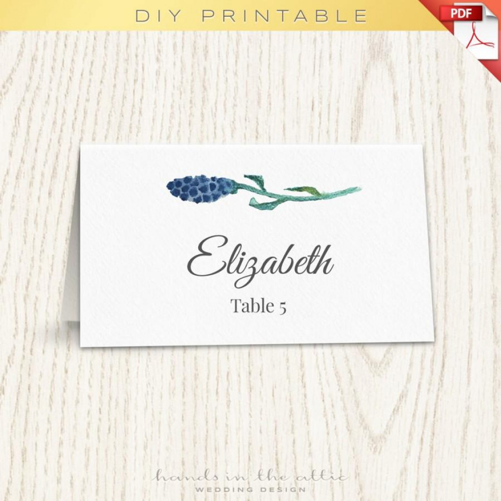 Floral Wedding Placecard Template, Printable Escort Cards, Wedding | Free Printable Damask Place Cards