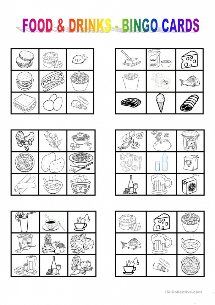 Food And Drinks - Bingo Cards Worksheet - Free Esl Printable | Vocabulary Bingo Cards Printable