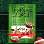Football Coach Gift Thank You Card   Free Printable Download | Football Thank You Cards Printable