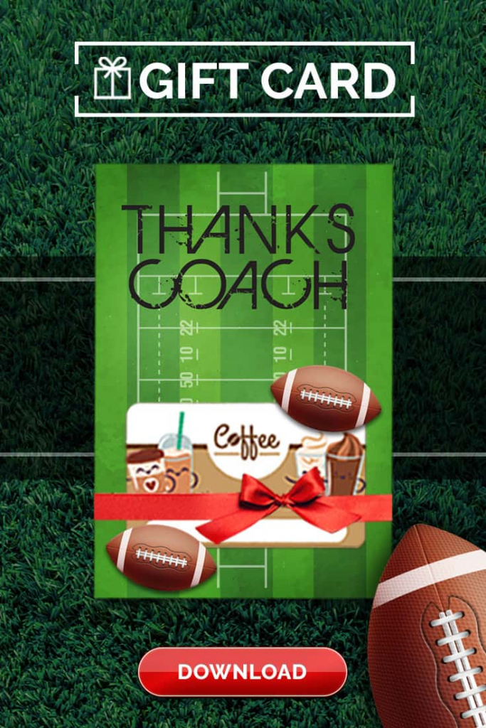 Football Coach Gift Thank You Card - Free Printable Download | Football Thank You Cards Printable