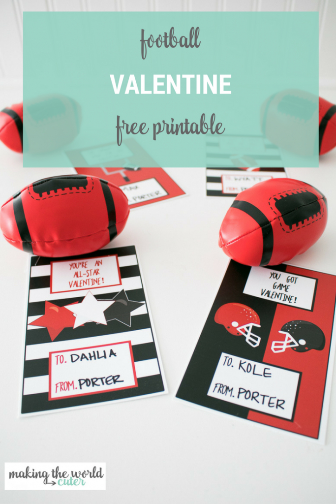 Football Valentine Cards To Print To Give With Football Toys | Free Printable Football Valentines Day Cards