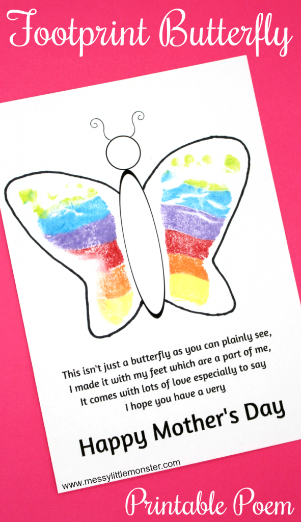 Footprint Butterfly Poem - Printable Mother's Day Card | Preschool | Mothers Day Poems Cards Printable