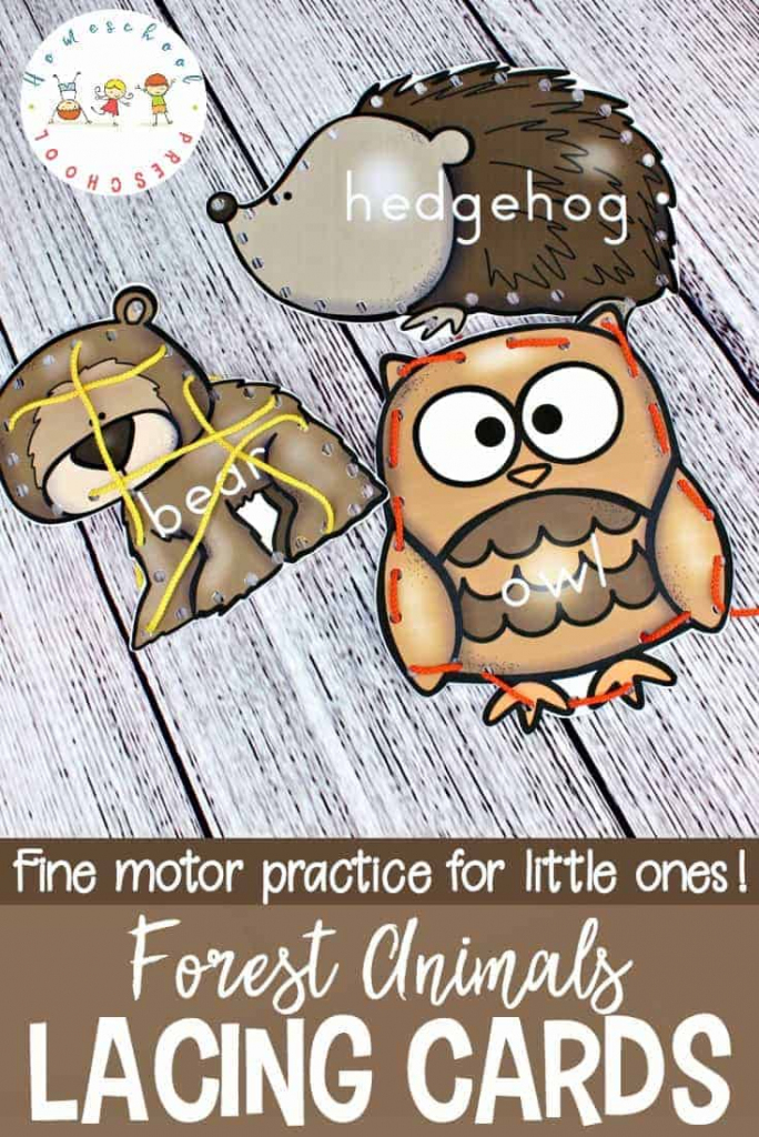 Forest Animal Printable Lacing Cards For Fine Motor Practice | Printable Lacing Cards Numbers