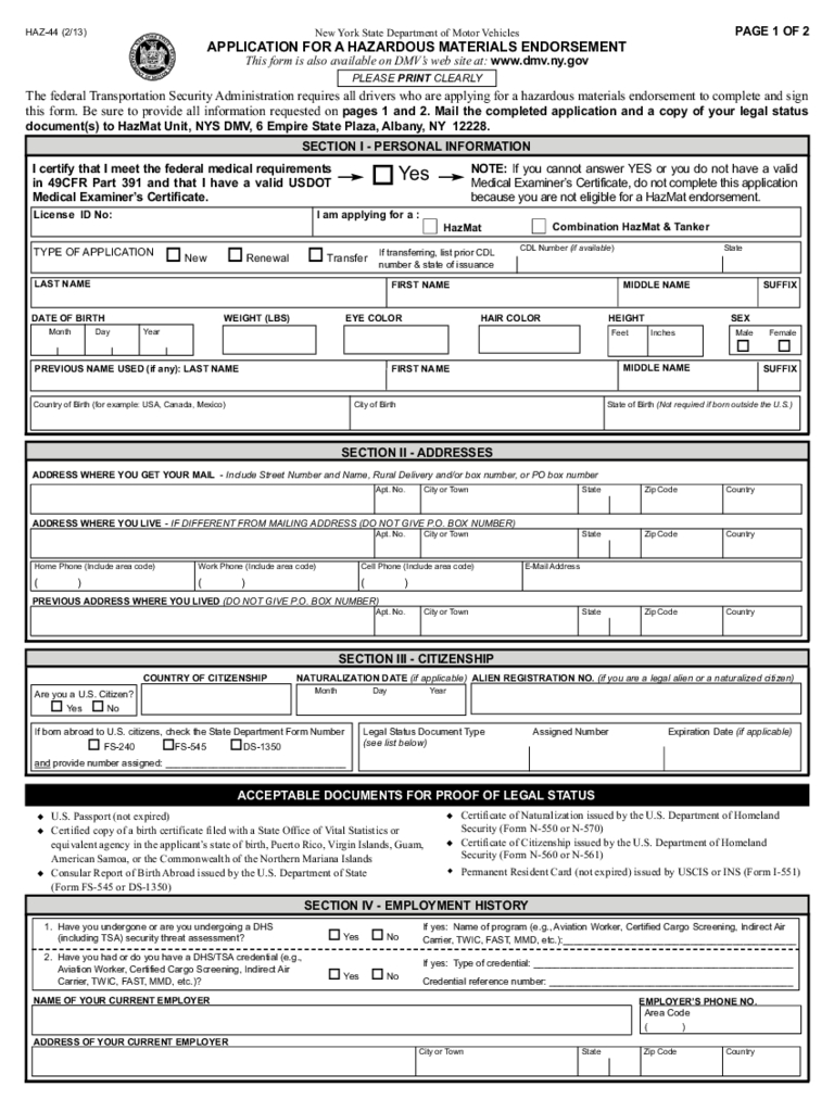 Form Haz-44 - Application For A Hazardous Materials Endorsement | Printable Twic Card Application
