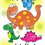 Four Cute Dinosaurs Birthday Card | Greetings Island | Printable Birthday Cards For Boys