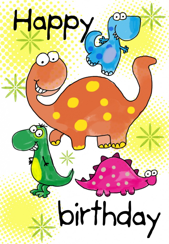 Four Cute Dinosaurs Birthday Card | Greetings Island | Printable Birthday Cards For Kids