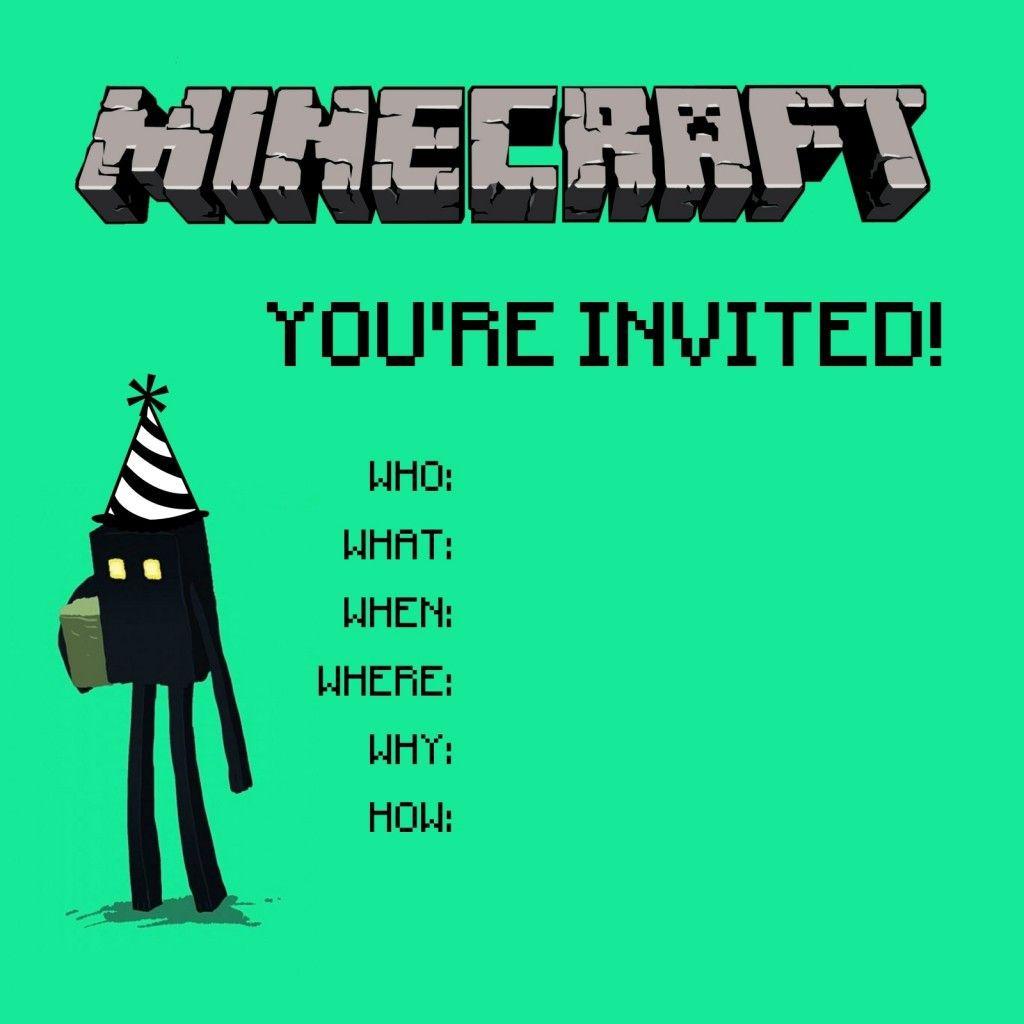 Free 10 Year Old Girls Birthday Invitation | Payton's 10Th Birthday | Minecraft Birthday Card Printable