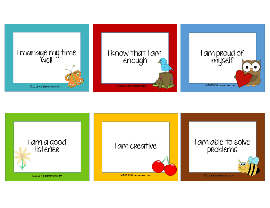 Free Affirmation Cards For Kids! - Kiddie Matters | Free Printable Positive Affirmation Cards