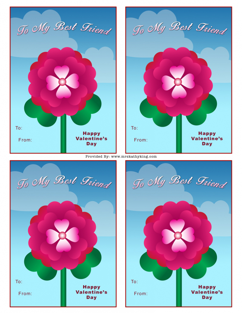 Free Best Friend Valentine's Day Card - Mrs. Kathy King | Printable Valentines Day Cards For Best Friends