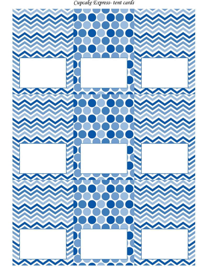 Free Blue And White Printable Tent Cards | Free Printables | Free Printable Tent Cards Templates