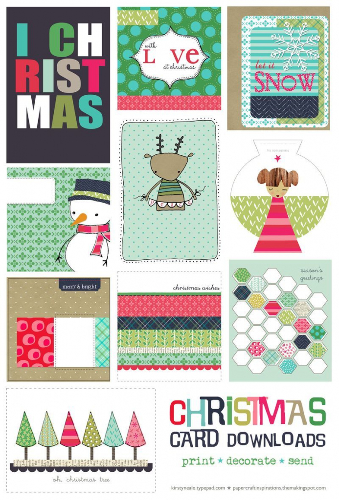 Free Christmas Card Printable Set | Printable Cards | Printable | Christmas Cards Download Free Printable