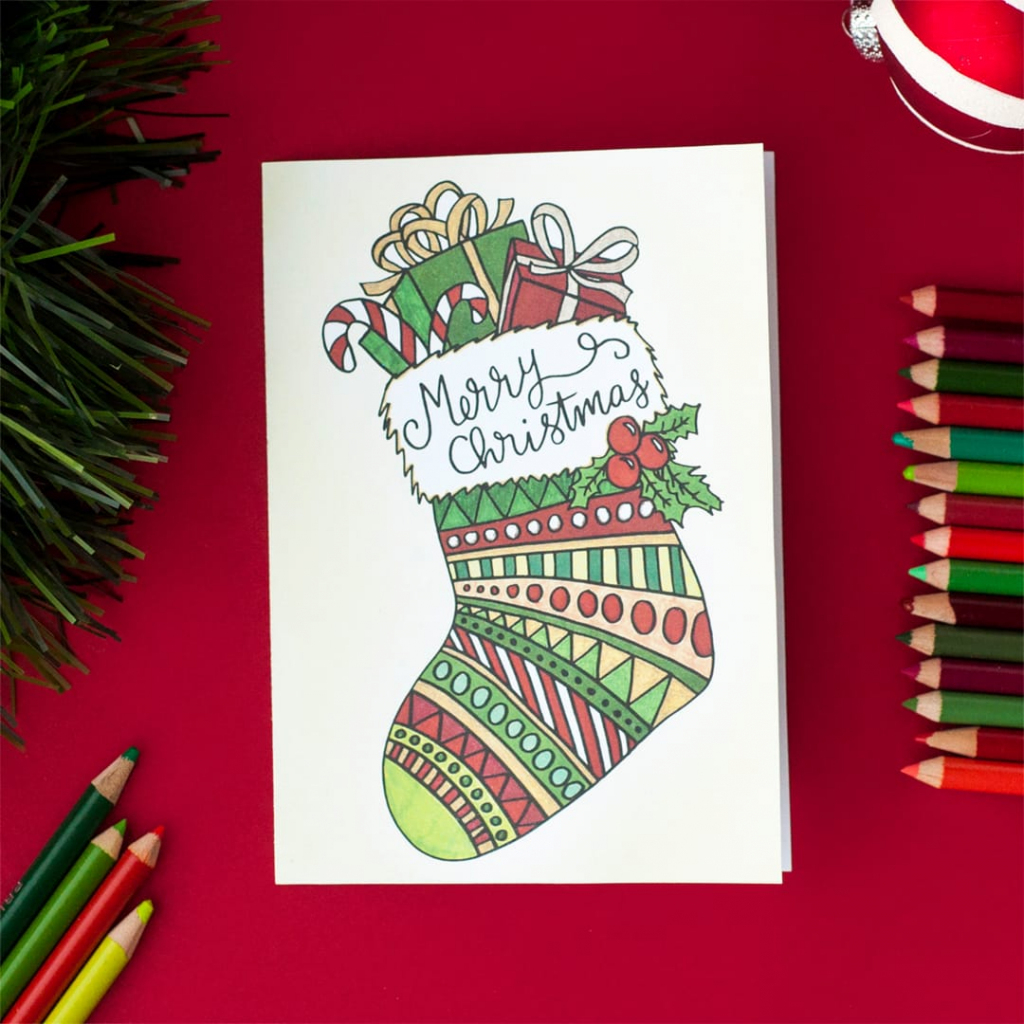 Free Christmas Coloring Card - Sarah Renae Clark - Coloring Book | Create Your Own Free Printable Christmas Cards