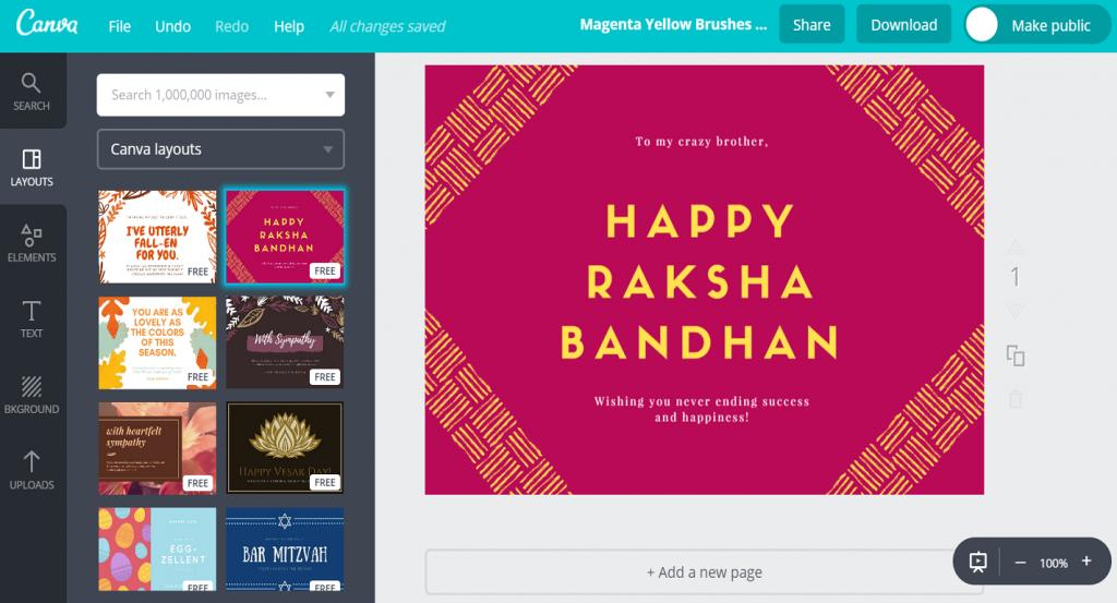 Free Custom Raksha Bandhan Card Designscanva | Free Online Printable Rakhi Cards