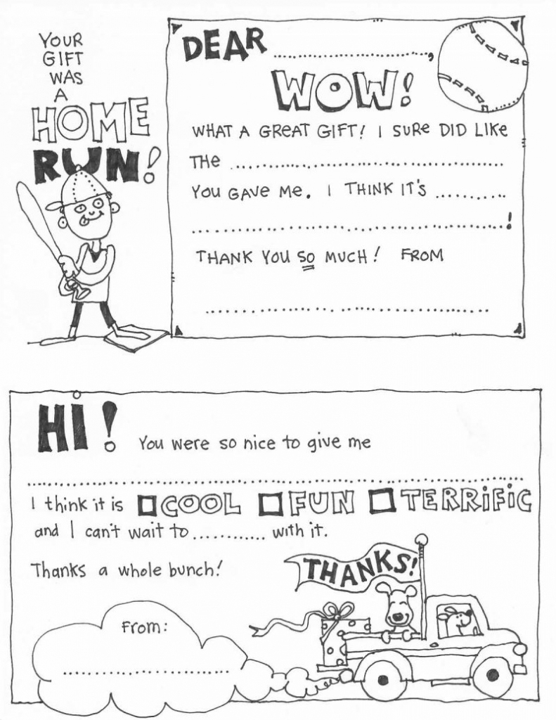 Free Fill In The Blank Thank You Cards For Kids   Skip To My Lou   Free Printable Thank You Cards Black And White