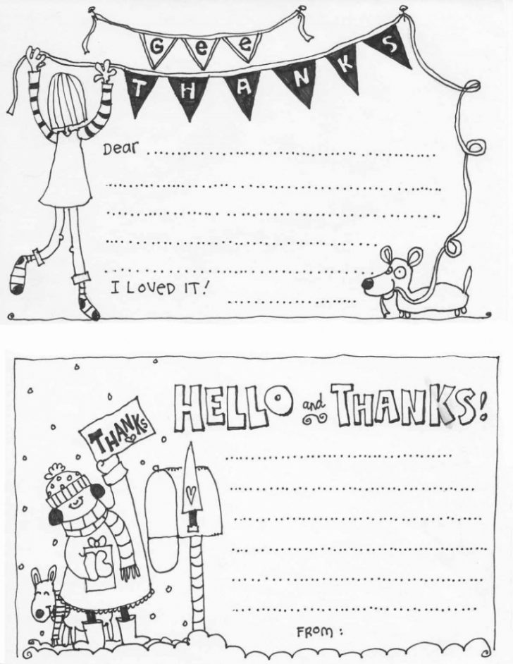 Printable Thank You Cards For Kids To Color