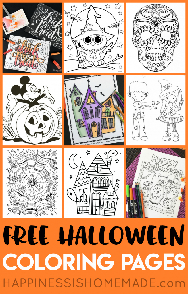 Free Halloween Coloring Pages For Adults & Kids - Happiness Is Homemade | Printable Halloween Cards To Color For Free