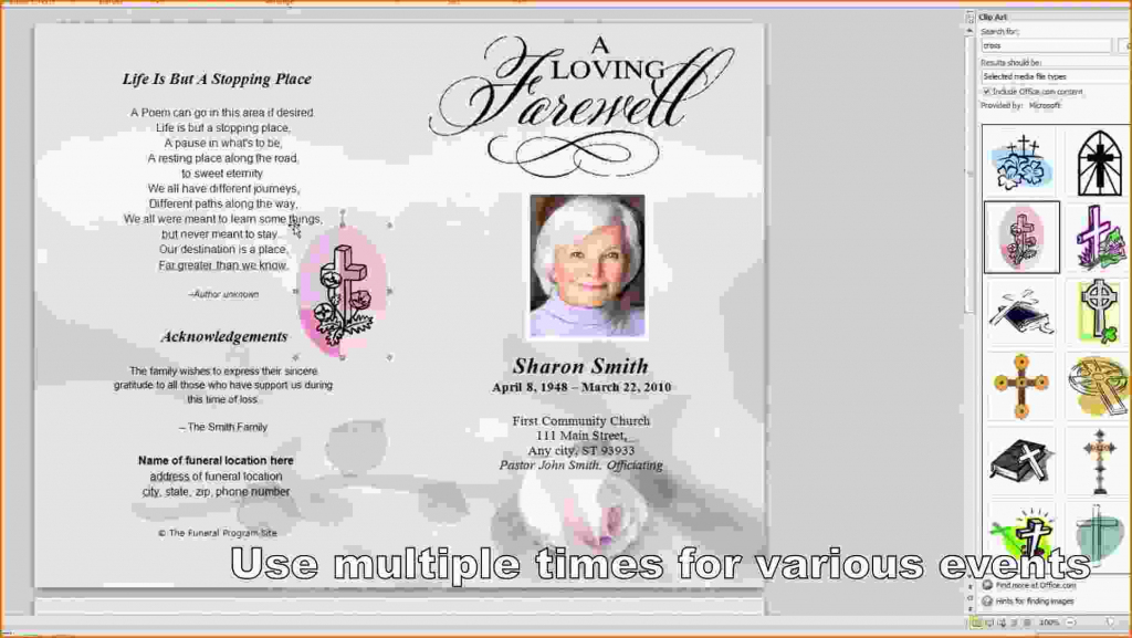Free Memorial Service Program Template - Kleo.bergdorfbib.co | Free Printable Memorial Card Template