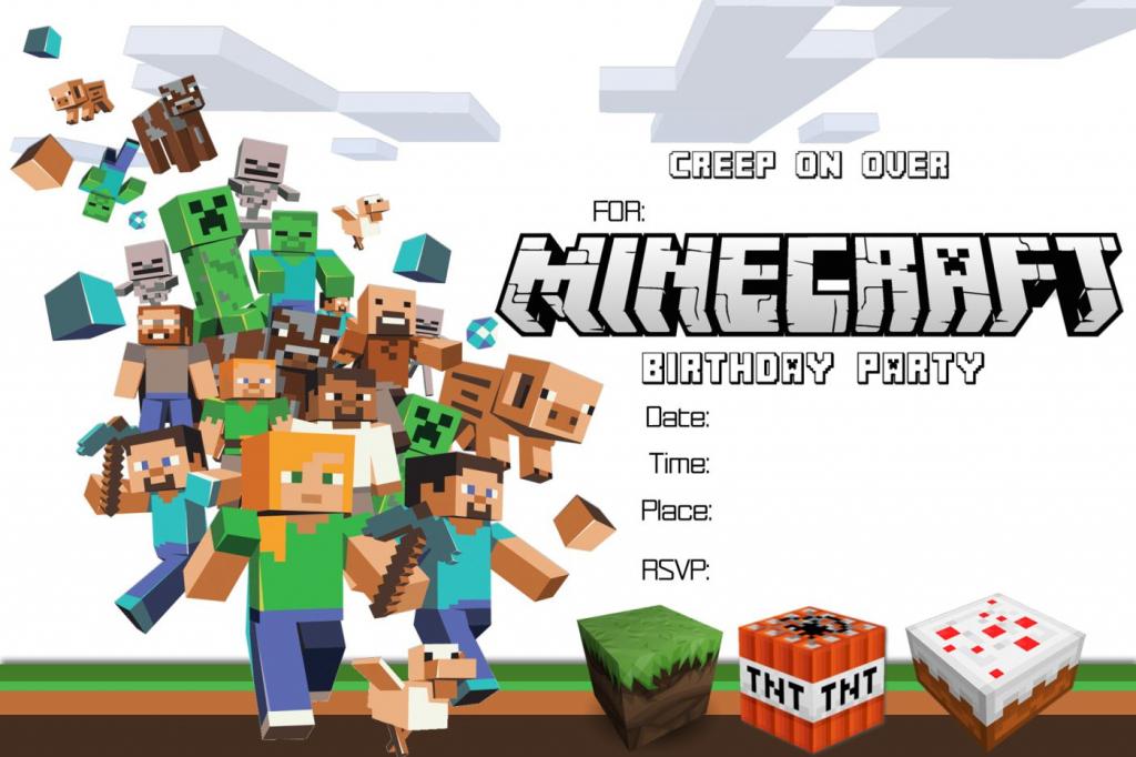 Free Minecraft Birthday Invitation Printable!!!!   Craftysusanita   Minecraft Birthday Card Printable