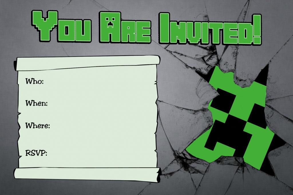 Free Minecraft Creeper Inspired Birthday Invitation Printable   Minecraft Birthday Card Printable
