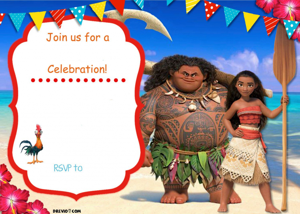 Free Moana Birthday Invitation | Zoey 4Th Birthday | Moana | Moana Birthday Card Printable