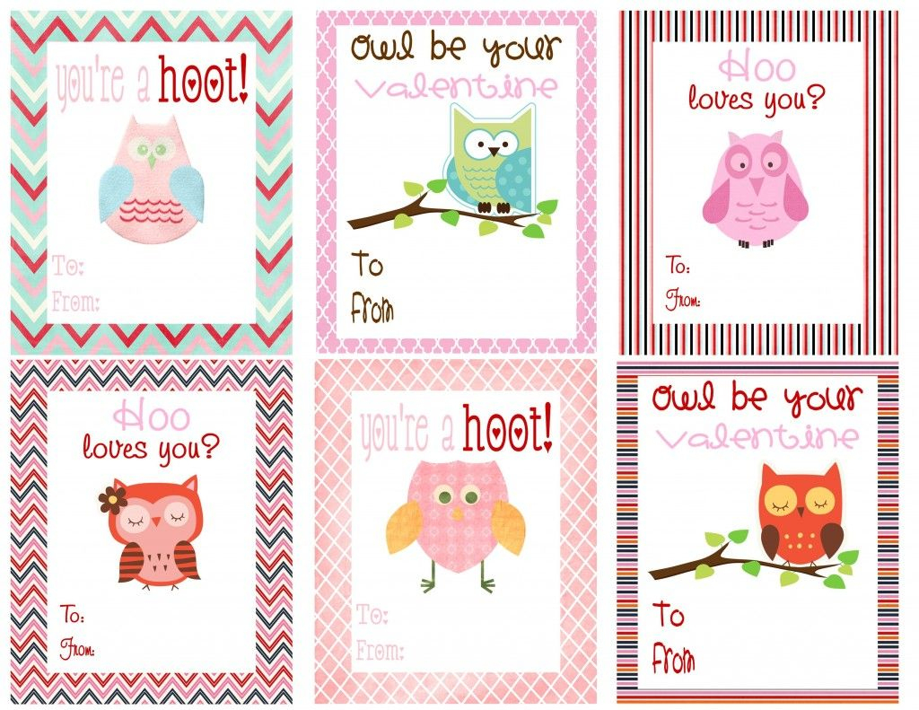 Free Owl Printables | Free Printable Valentine's Day Cards For Kids | Free Printable Owl Valentine Cards