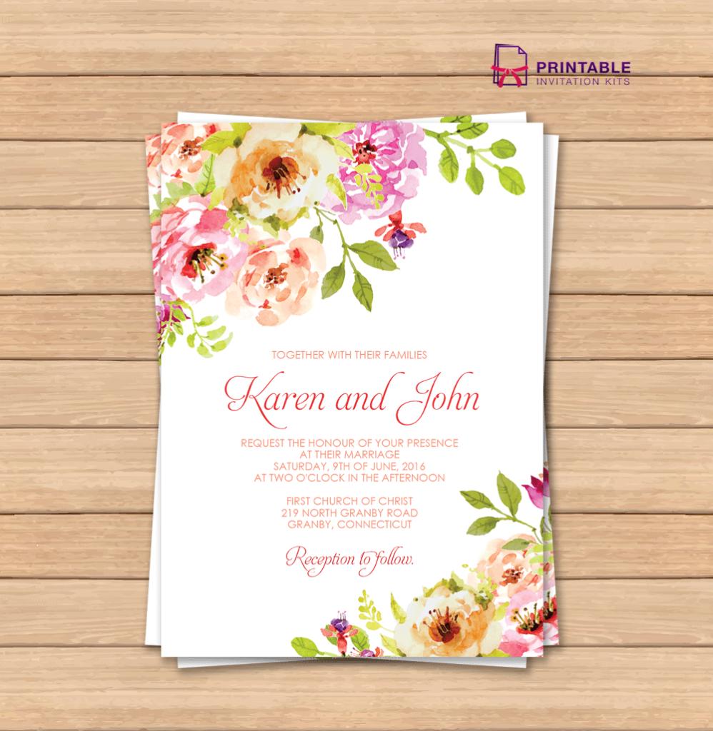 Free Pdf Wedding Invitation Template With Editable Texts. Vintage | Wedding Invitation Cards Printable Free
