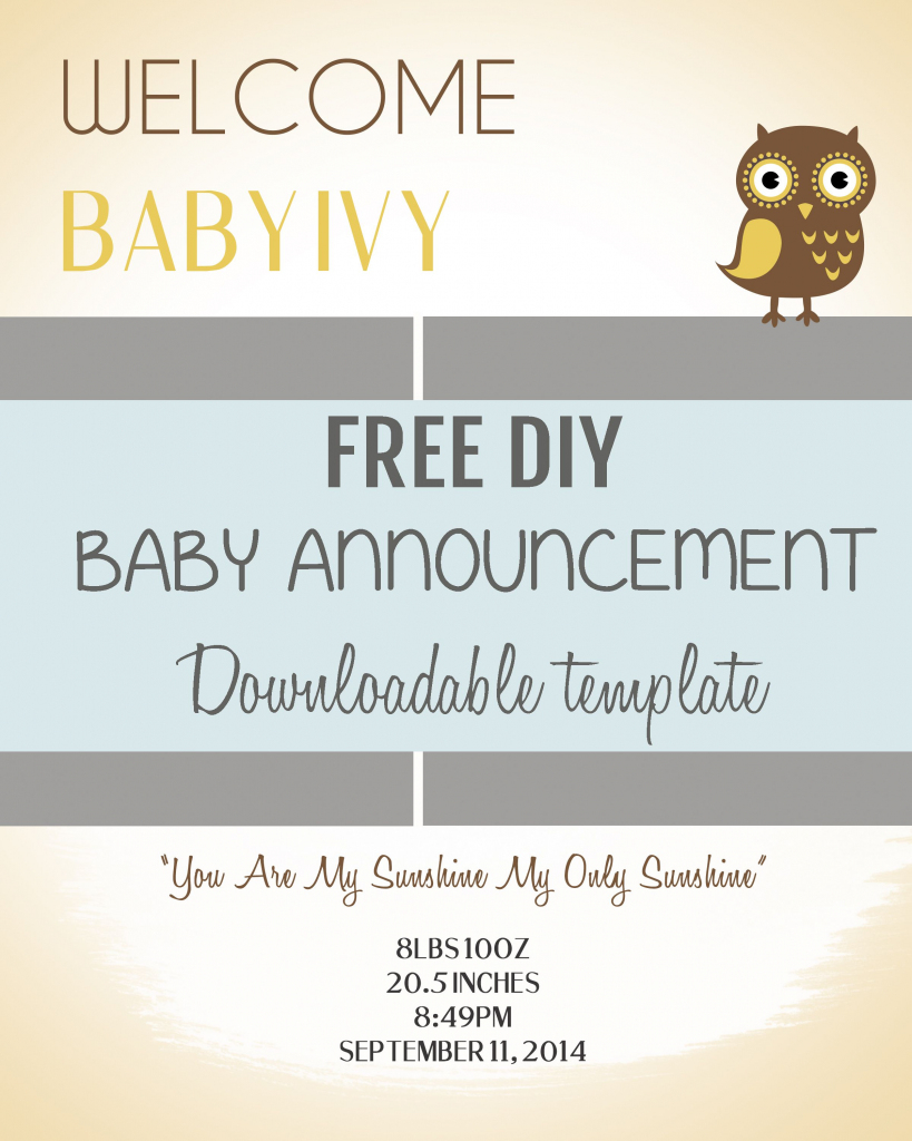 Free Pregnancy Announcement Templates - Kleo.bergdorfbib.co | Free Printable Baby Birth Announcement Cards