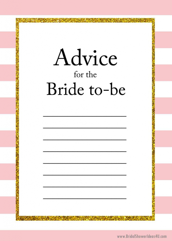 Free Printable Advice For The Bride To Be Cards | Friendship | Free Printable Bridal Shower Cards