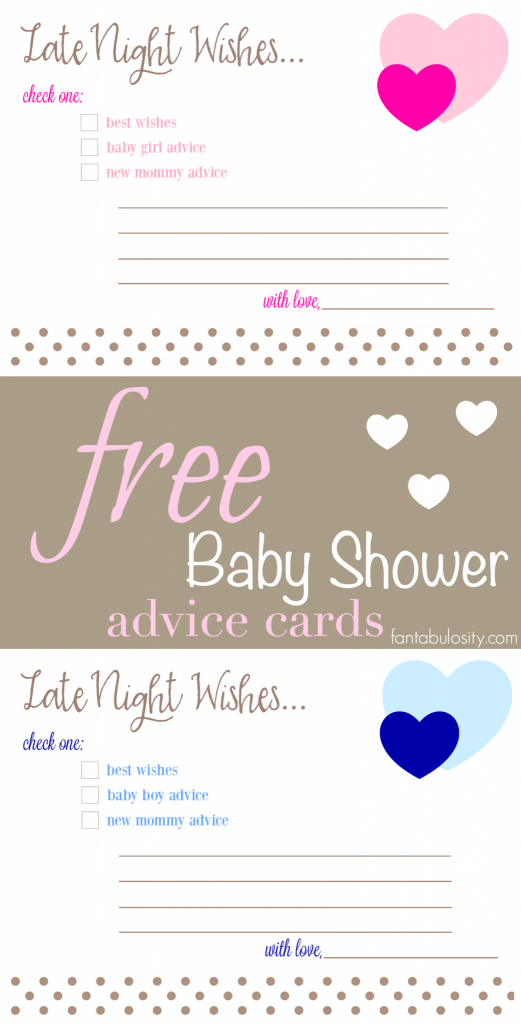 Free Printable Baby Shower Advice & Best Wishes Cards - Fantabulosity | Free Mommy Advice Cards Printable