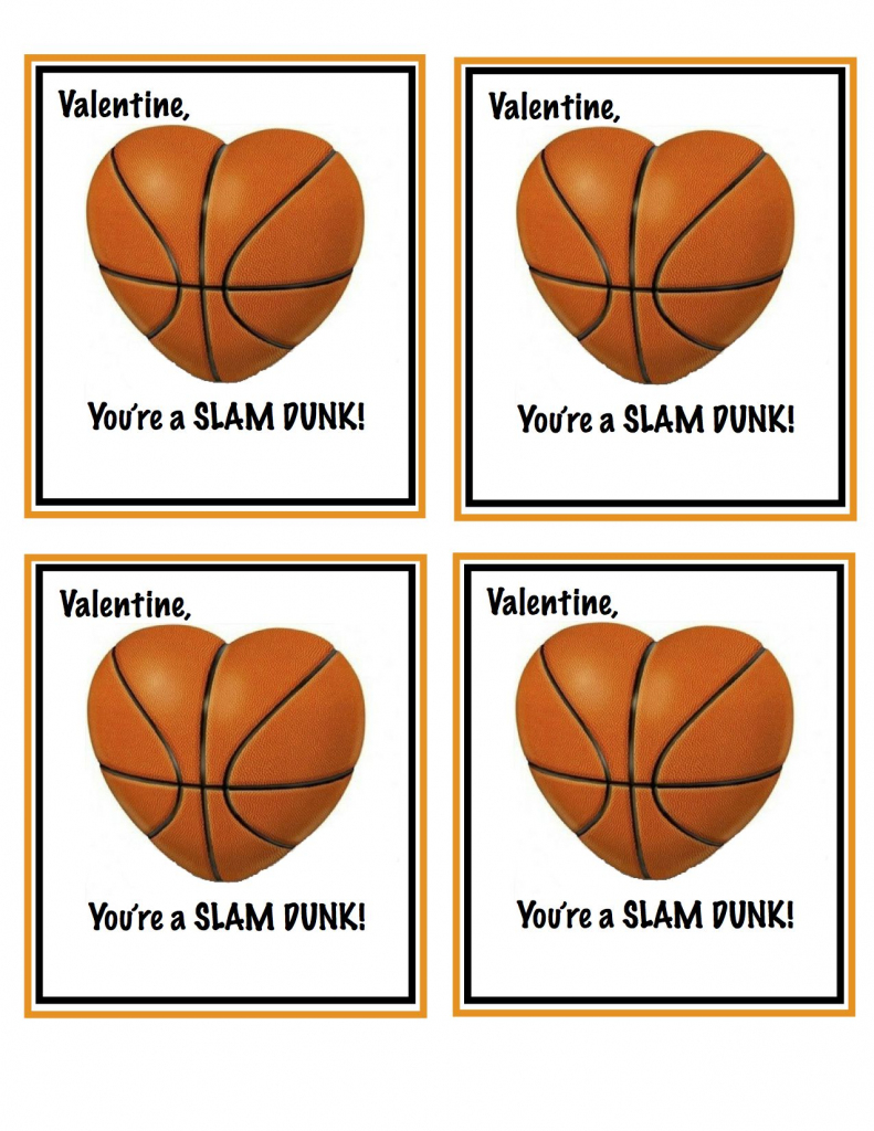 Free Printable Basketball Valentines | Valentines | Valentines | Free Printable Basketball Cards