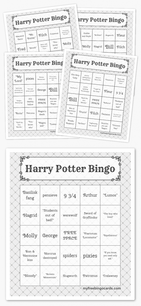 Free Printable Bingo Cards | Harry Potter Party | Harry Potter Bday | Printable Bingo Cards 4 Per Page