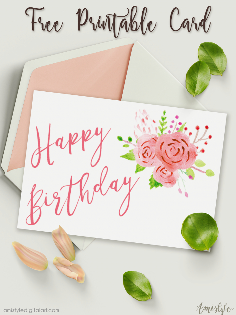 Free Printable Birthday Card With Watercolor Floral Design | Free Printable Personalized Birthday Cards