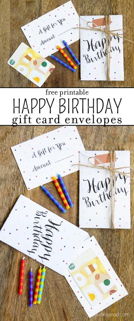 Free Printable Birthday Gift Card Envelopes - Yellow Bliss Road | Gift Card Printable Envelope